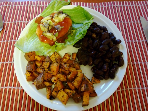 bunless pork burgers, chipotle beans & roast yams