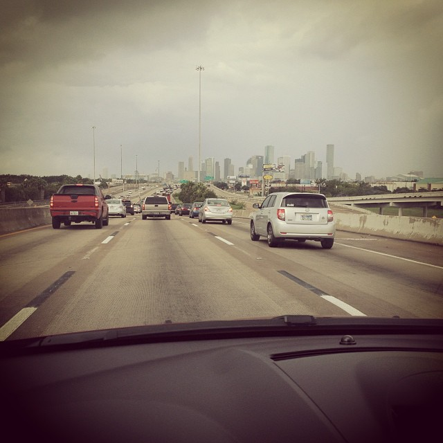 downtown houston traffic & storm