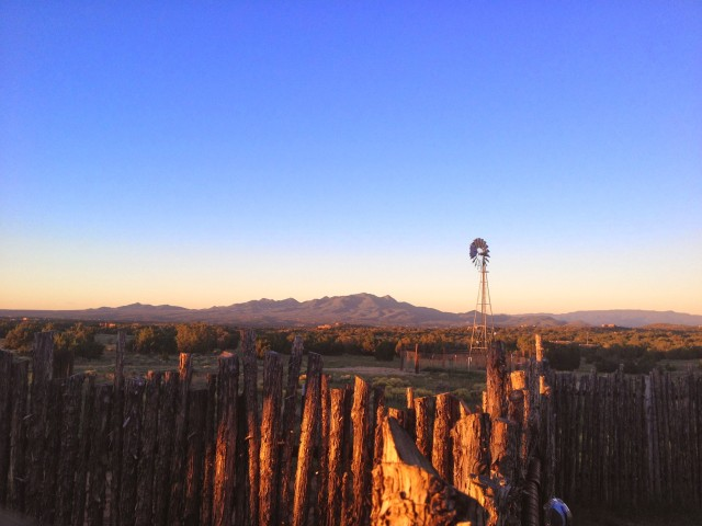 santa fe, new mexico sunrise with windmill
