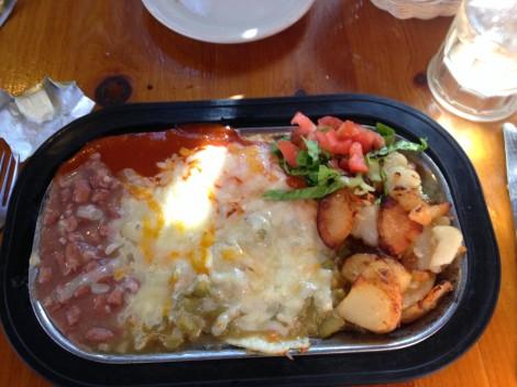 huevos rancheros at san marcos cafe, santa fe, new mexico