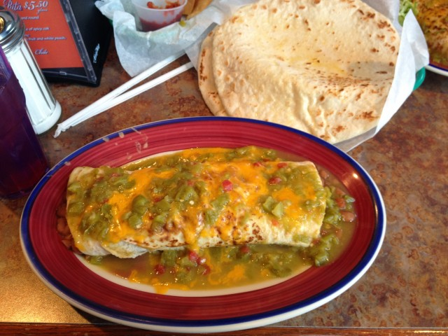green chile burrito at duran's station, albuquerque